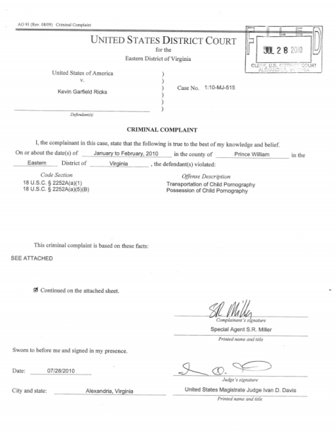 2010 Jul 28 - Criminal Complaint against Kevin Garfield Ricks